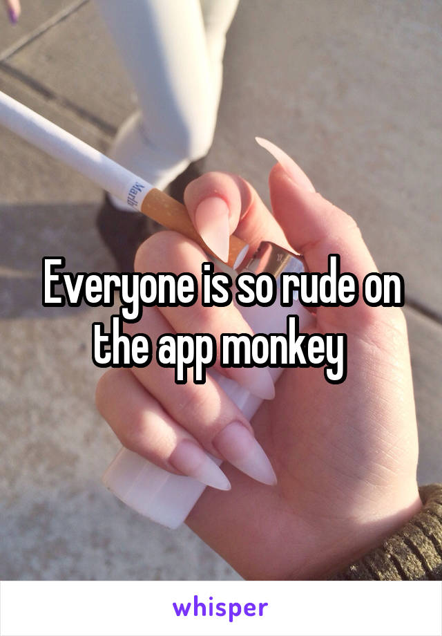 Everyone is so rude on the app monkey