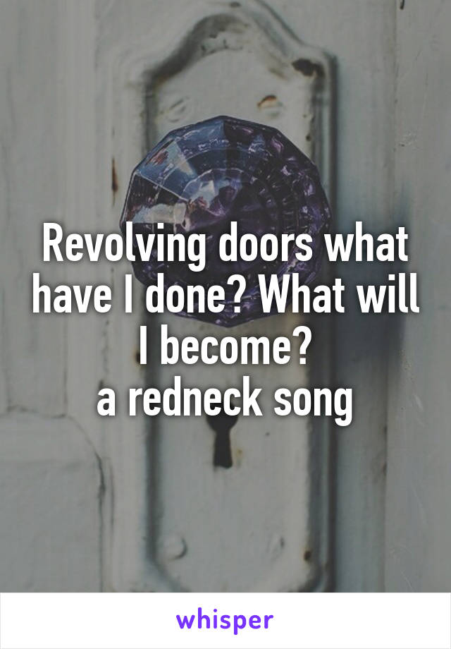 Revolving doors what have I done? What will I become? a redneck song