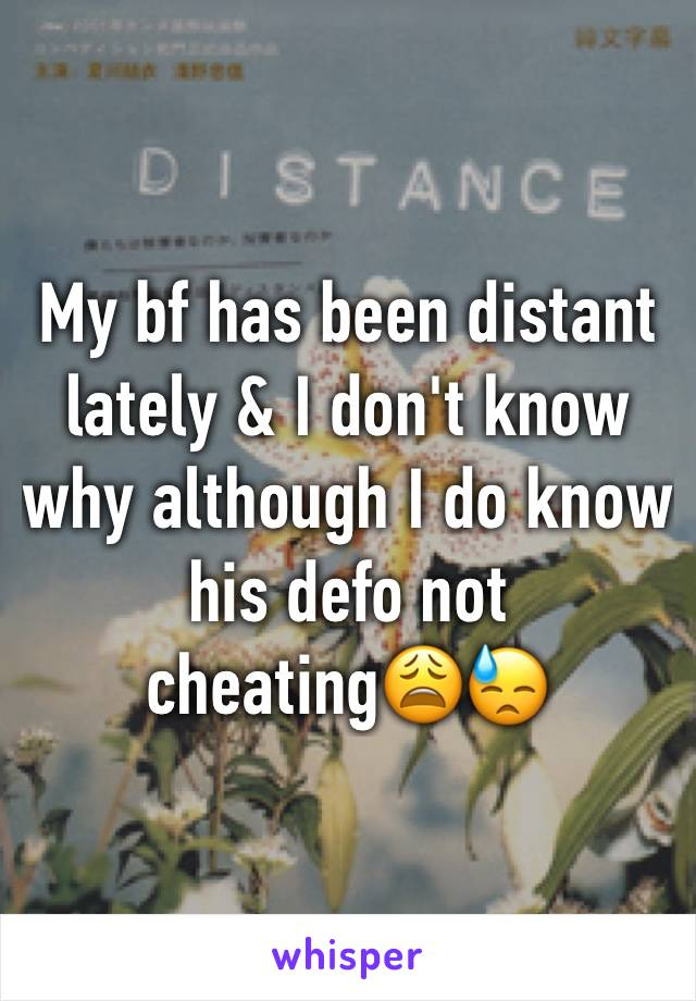 My bf has been distant lately & I don't know why although I do know his defo not cheating😩😓