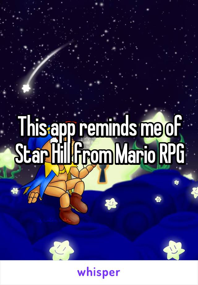 This app reminds me of Star Hill from Mario RPG