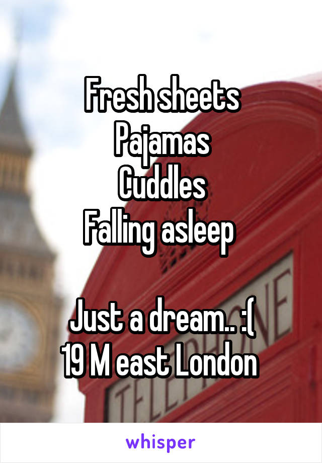 Fresh sheets Pajamas Cuddles Falling asleep   Just a dream.. :( 19 M east London