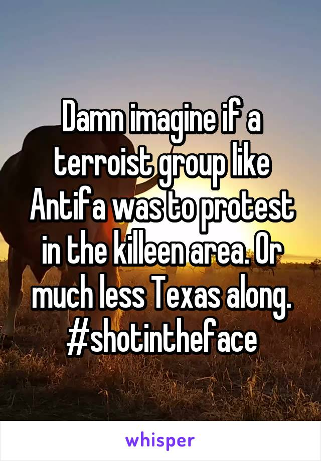 Damn imagine if a terroist group like Antifa was to protest in the killeen area. Or much less Texas along. #shotintheface