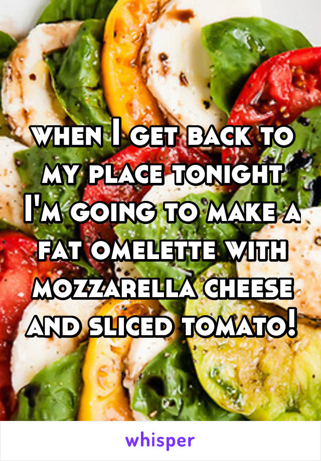 when I get back to my place tonight I'm going to make a fat omelette with mozzarella cheese and sliced tomato!