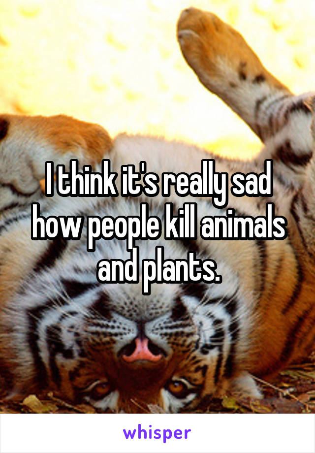 I think it's really sad how people kill animals and plants.
