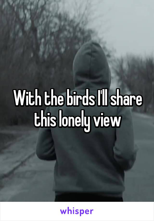 With the birds I'll share this lonely view