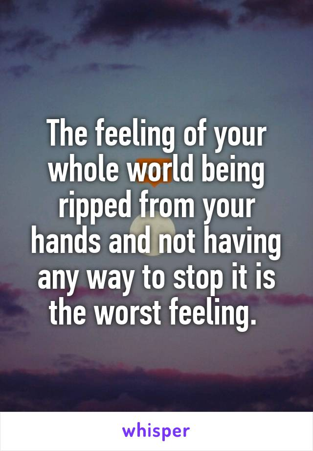 The feeling of your whole world being ripped from your hands and not having any way to stop it is the worst feeling.