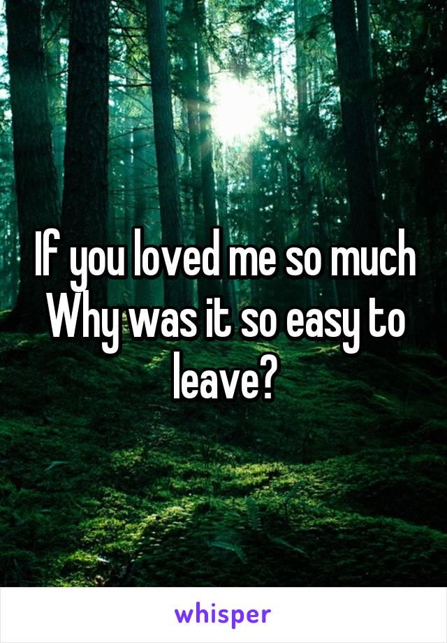 If you loved me so much Why was it so easy to leave?
