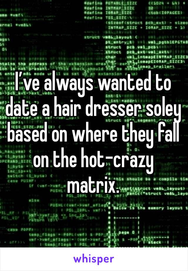 I've always wanted to date a hair dresser soley based on where they fall on the hot-crazy matrix.