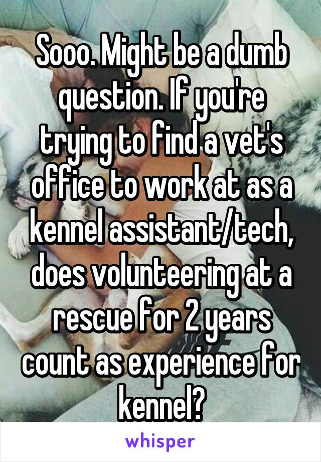 Sooo. Might be a dumb question. If you're trying to find a vet's office to work at as a kennel assistant/tech, does volunteering at a rescue for 2 years count as experience for kennel?