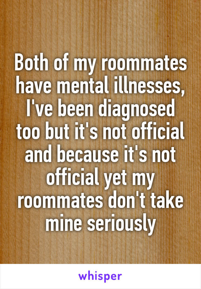 Both of my roommates have mental illnesses, I've been diagnosed too but it's not official and because it's not official yet my roommates don't take mine seriously
