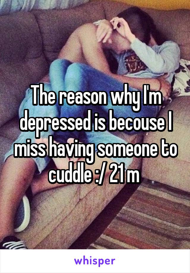 The reason why I'm depressed is becouse I miss having someone to cuddle :/ 21 m