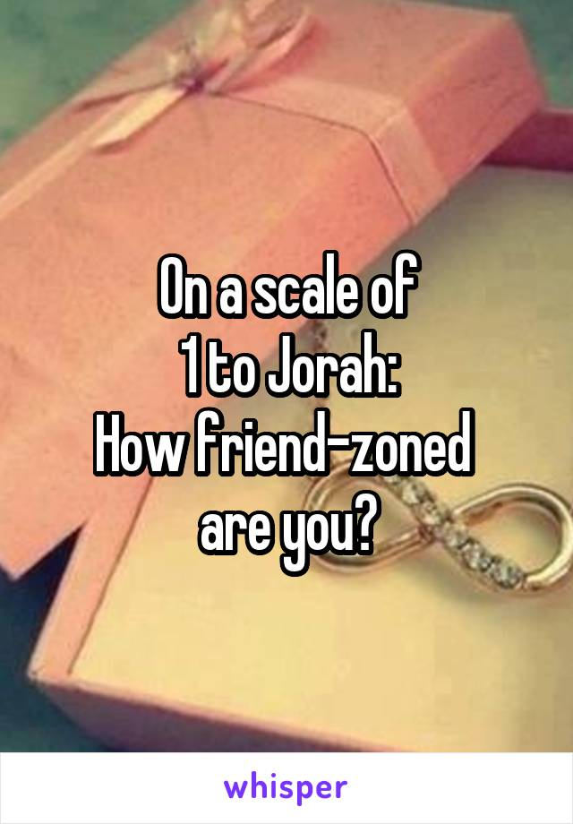 On a scale of 1 to Jorah: How friend-zoned  are you?
