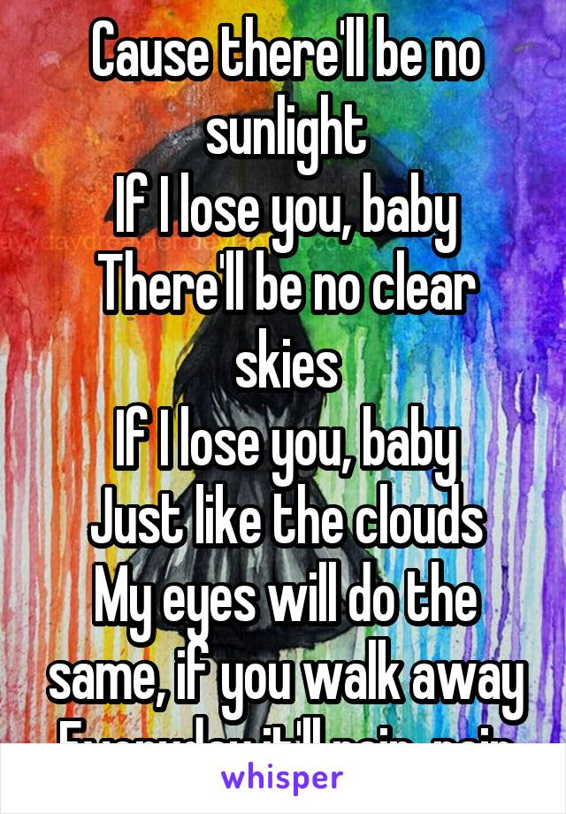 Cause there'll be no sunlight If I lose you, baby There'll be no clear skies If I lose you, baby Just like the clouds My eyes will do the same, if you walk away Everyday it'll rain, rain