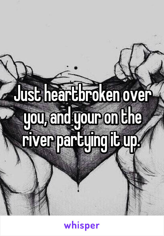 Just heartbroken over you, and your on the river partying it up.