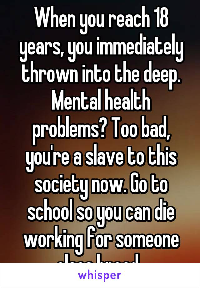 When you reach 18 years, you immediately thrown into the deep. Mental health problems? Too bad, you're a slave to this society now. Go to school so you can die working for someone elses bread.