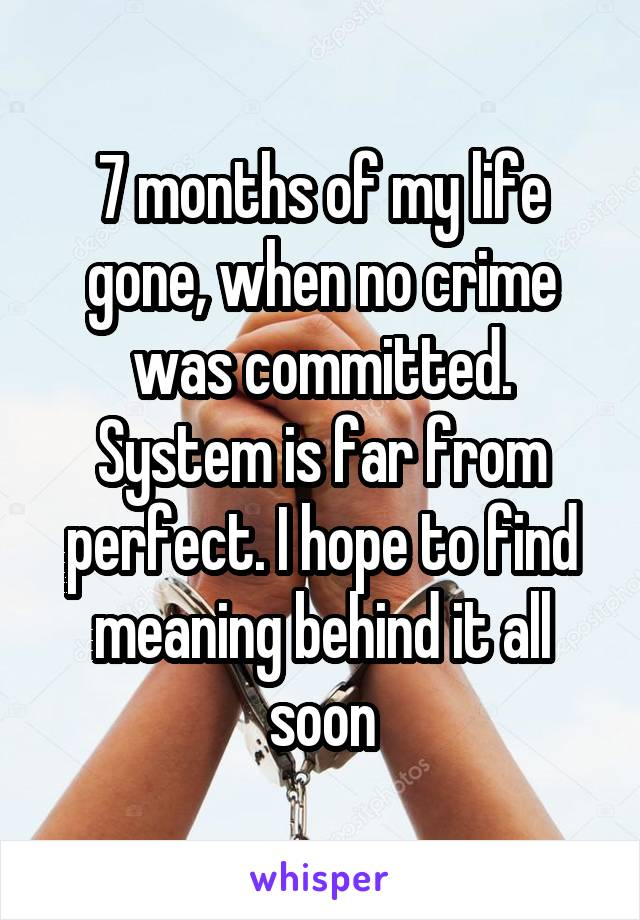7 months of my life gone, when no crime was committed. System is far from perfect. I hope to find meaning behind it all soon