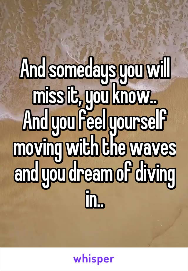 And somedays you will miss it, you know.. And you feel yourself moving with the waves and you dream of diving in..