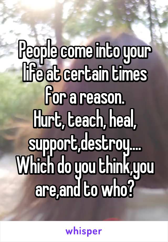 People come into your life at certain times for a reason. Hurt, teach, heal, support,destroy.... Which do you think,you are,and to who?