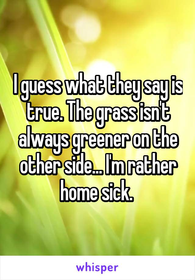 I guess what they say is true. The grass isn't always greener on the other side... I'm rather home sick.