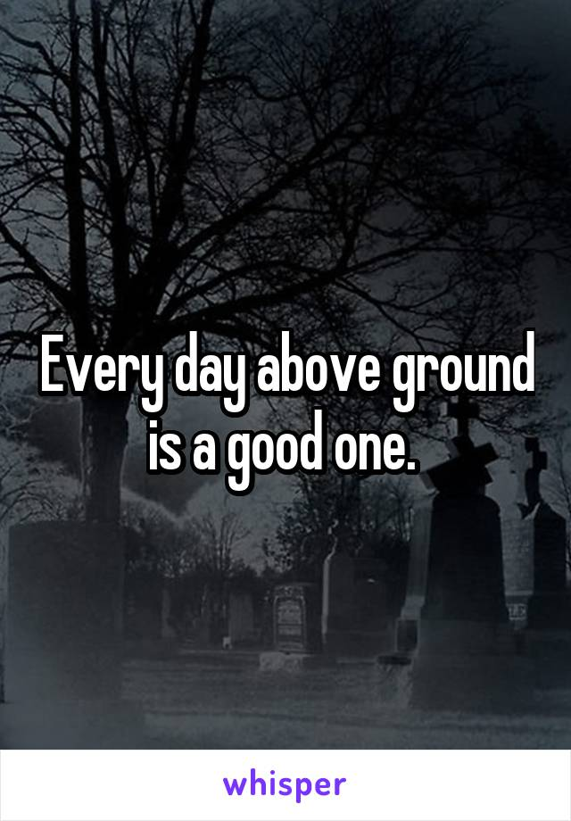 Every day above ground is a good one.