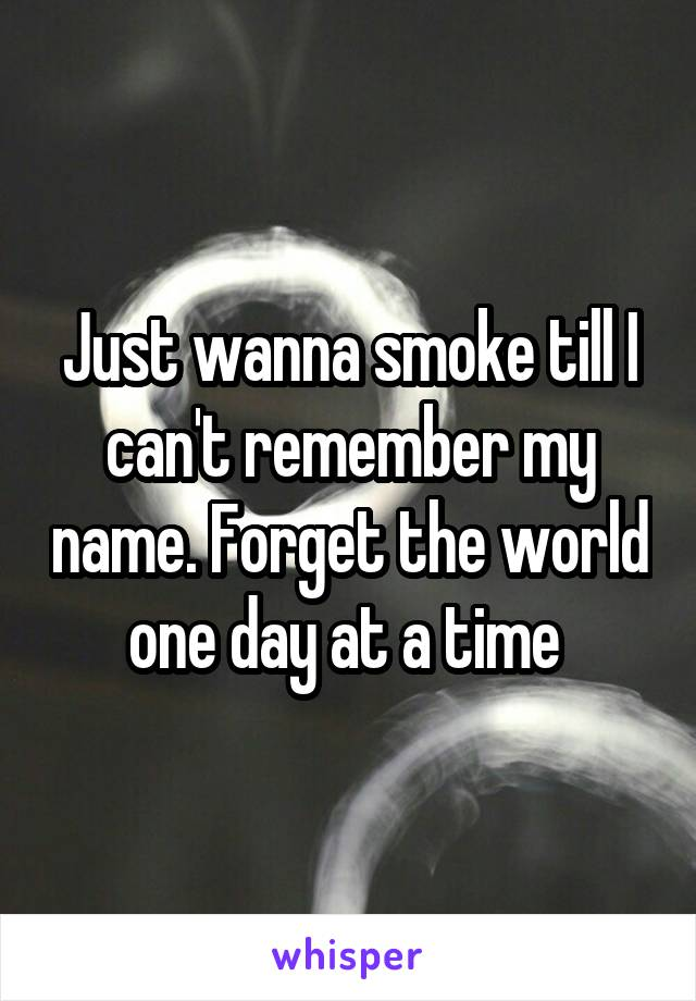 Just wanna smoke till I can't remember my name. Forget the world one day at a time