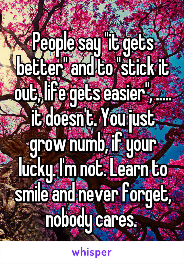 "People say ""it gets better"" and to ""stick it out, life gets easier"", ..... it doesn't. You just grow numb, if your lucky. I'm not. Learn to smile and never forget, nobody cares."