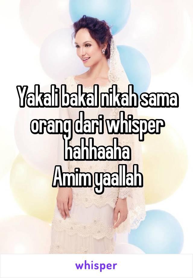 Yakali bakal nikah sama orang dari whisper hahhaaha Amim yaallah