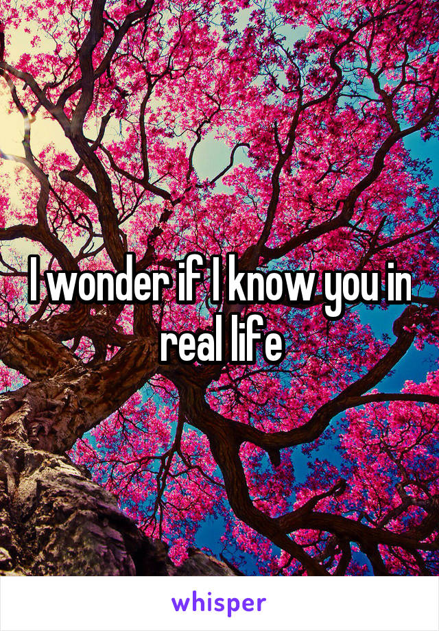 I wonder if I know you in real life