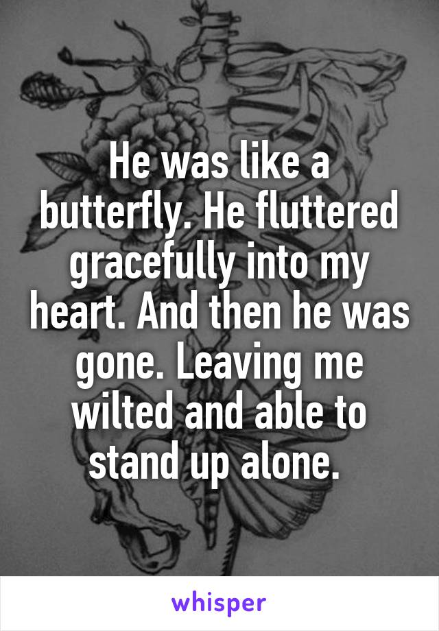 He was like a butterfly. He fluttered gracefully into my heart. And then he was gone. Leaving me wilted and able to stand up alone.