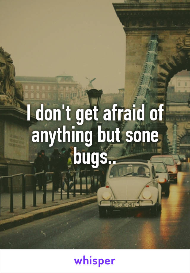 I don't get afraid of anything but sone bugs..