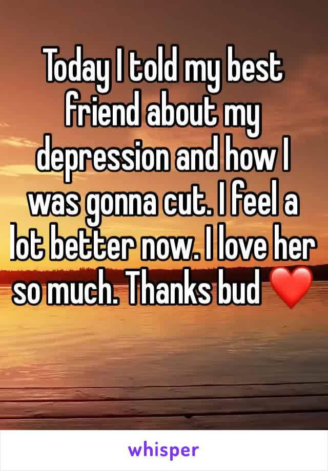 Today I told my best friend about my depression and how I was gonna cut. I feel a lot better now. I love her so much. Thanks bud ❤️