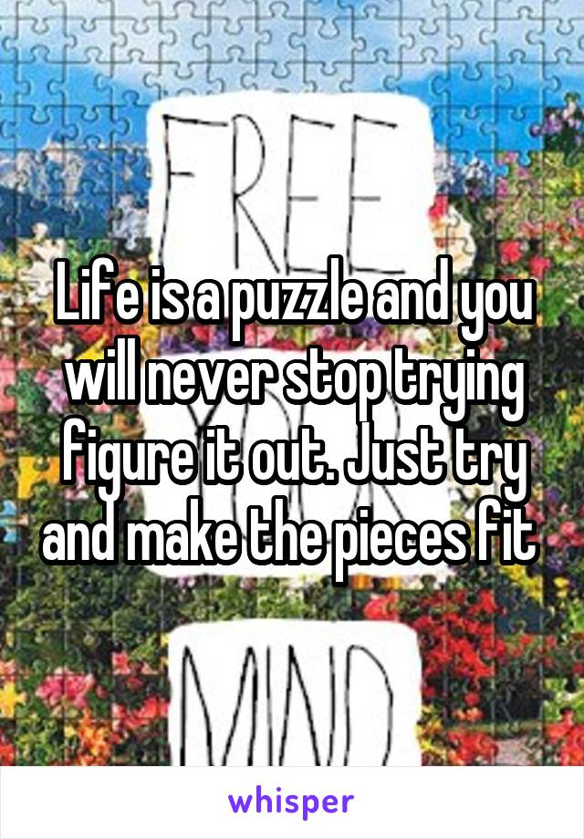 Life is a puzzle and you will never stop trying figure it out. Just try and make the pieces fit