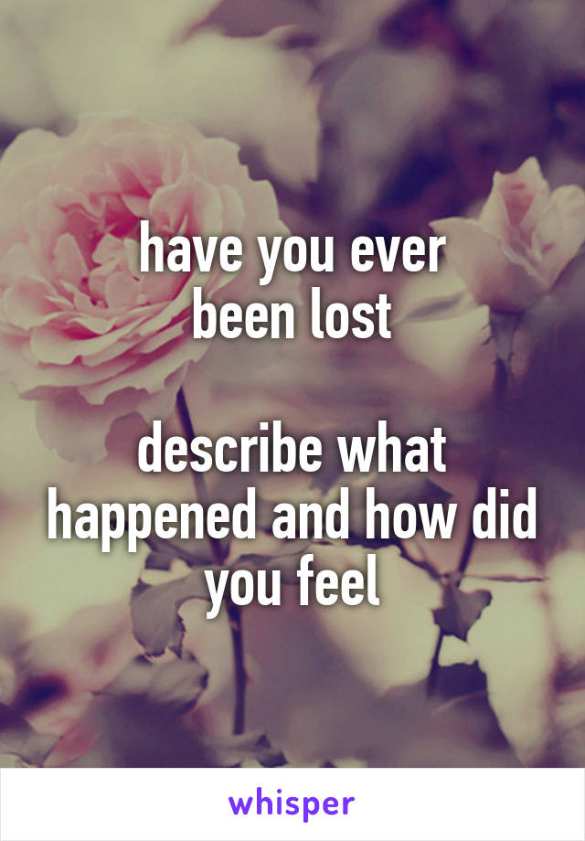 have you ever been lost  describe what happened and how did you feel