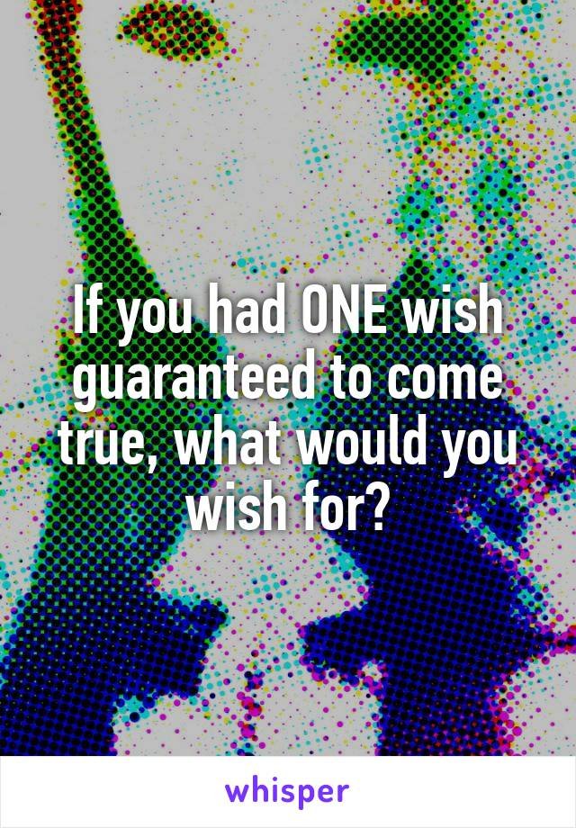 If you had ONE wish guaranteed to come true, what would you wish for?