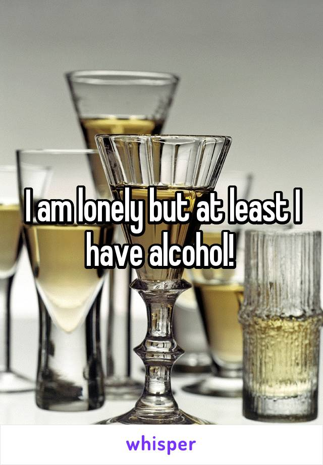 I am lonely but at least I have alcohol!