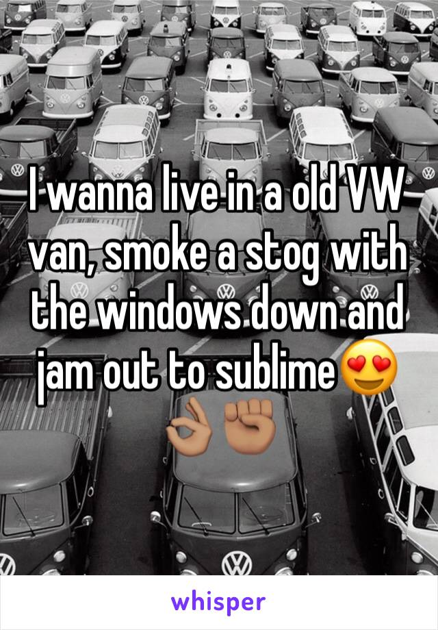 I wanna live in a old VW van, smoke a stog with the windows down and jam out to sublime😍👌🏽✊🏽