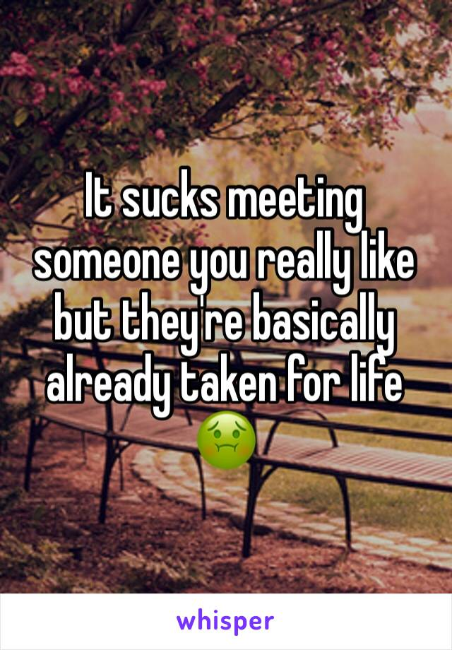 It sucks meeting someone you really like but they're basically already taken for life 🤢