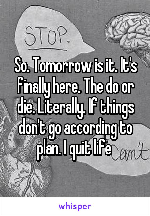 So. Tomorrow is it. It's finally here. The do or die. Literally. If things don't go according to plan. I quit life