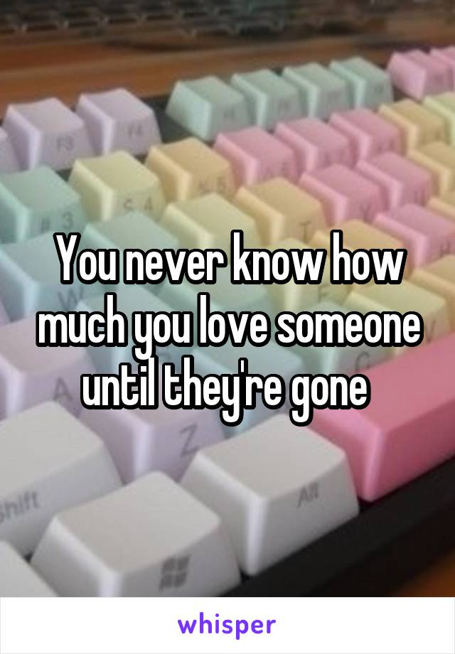 You never know how much you love someone until they're gone