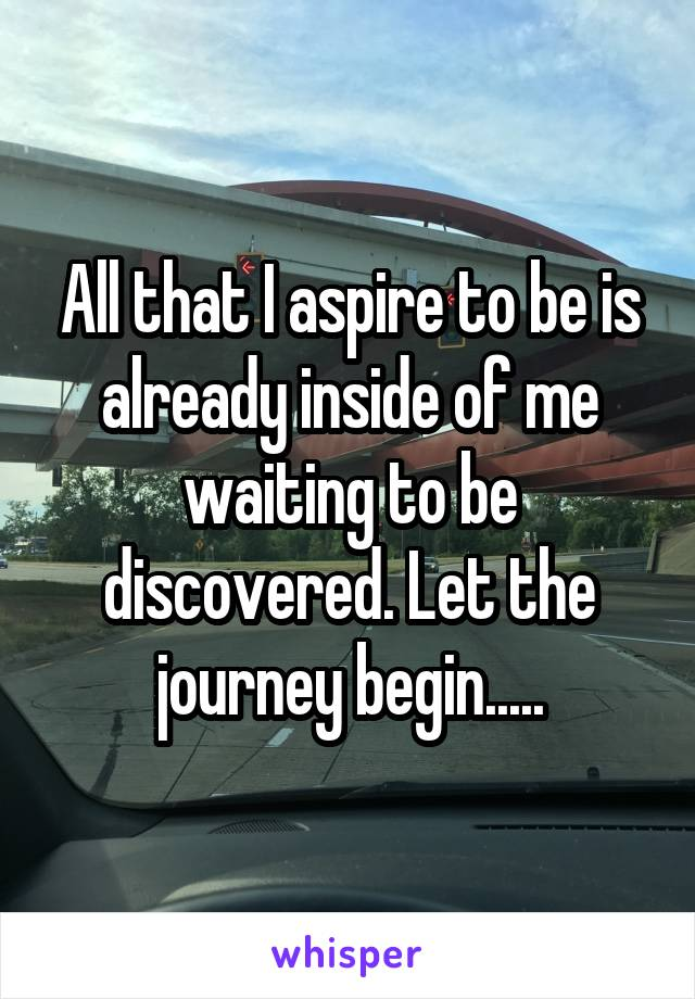 All that I aspire to be is already inside of me waiting to be discovered. Let the journey begin.....