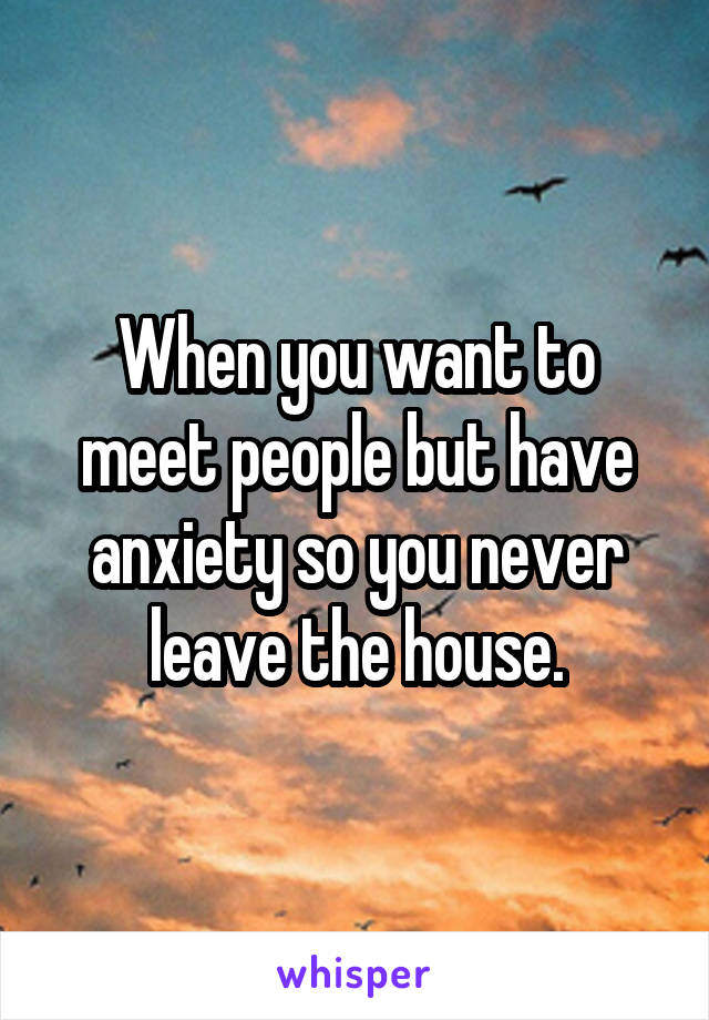 When you want to meet people but have anxiety so you never leave the house.