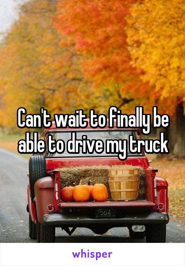 Can't wait to finally be able to drive my truck