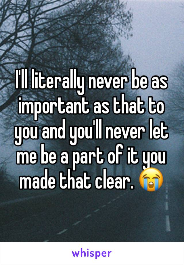 I'll literally never be as important as that to you and you'll never let me be a part of it you made that clear. 😭