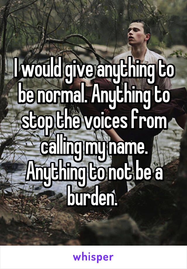 I would give anything to be normal. Anything to stop the voices from calling my name. Anything to not be a burden.
