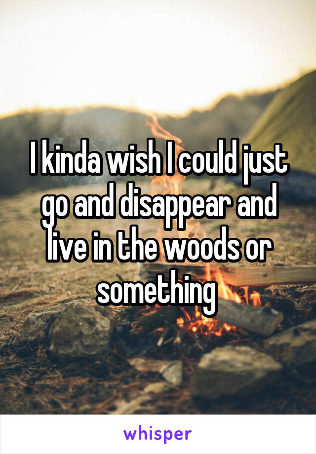 I kinda wish I could just go and disappear and live in the woods or something