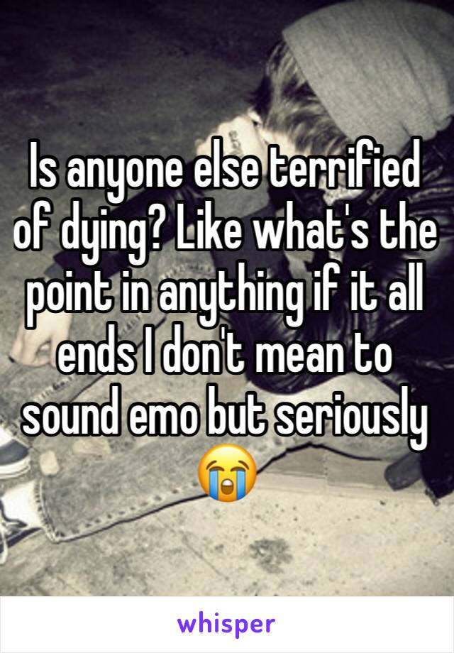 Is anyone else terrified of dying? Like what's the point in anything if it all ends I don't mean to sound emo but seriously 😭