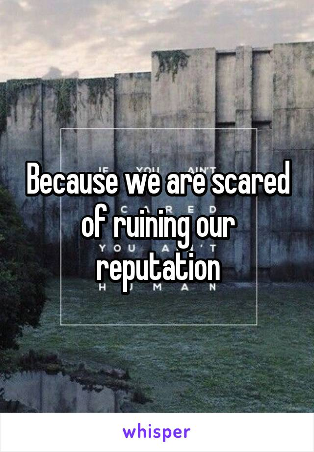 Because we are scared of ruining our reputation