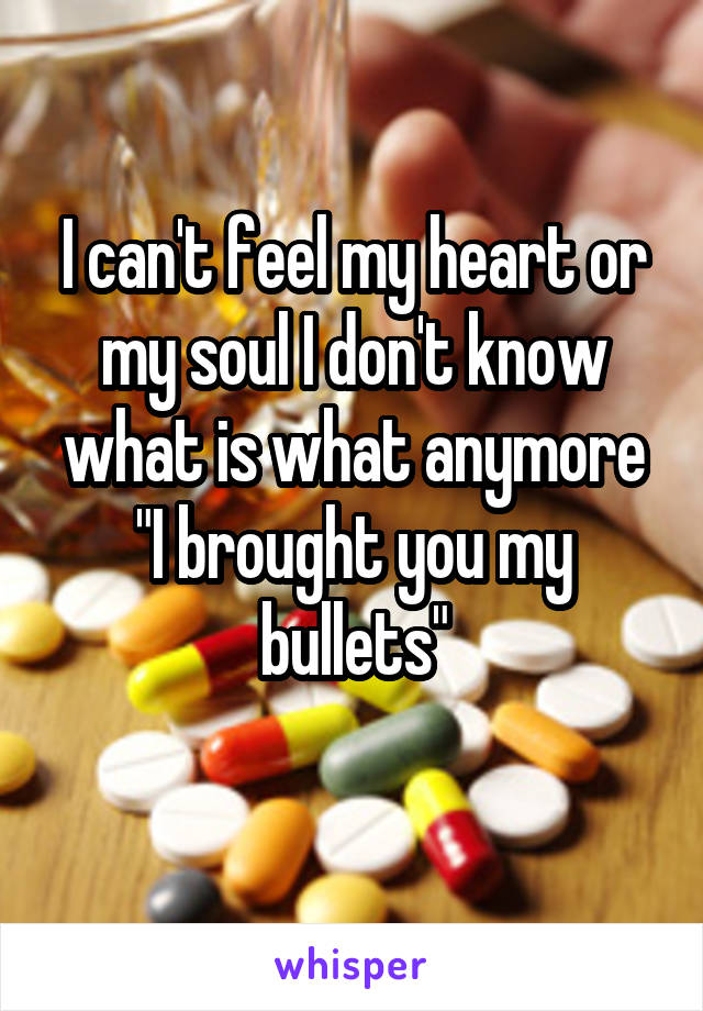"I can't feel my heart or my soul I don't know what is what anymore ""I brought you my bullets"""