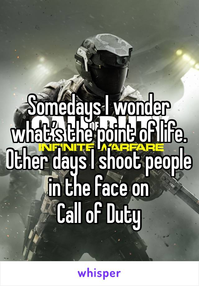 Somedays I wonder what's the point of life. Other days I shoot people in the face on  Call of Duty