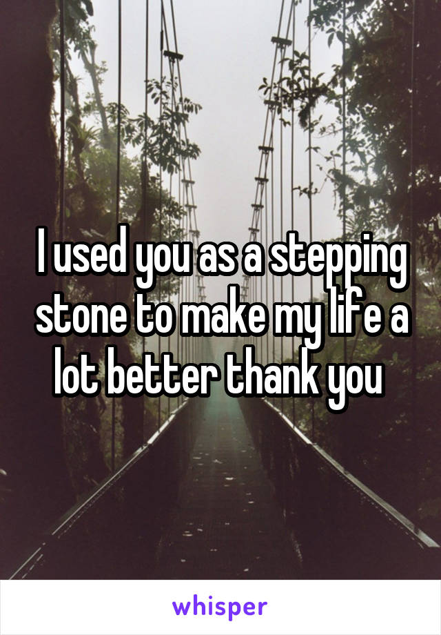 I used you as a stepping stone to make my life a lot better thank you